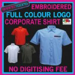 X10 WORKWEAR BUSINESS SHORT SLEEVED SHIRT EMBROIDERED COLOUR  DIGITISED LOGO
